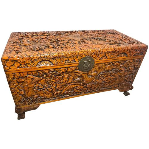 Chinese Camphor Wood Carved Birds & Flowers Chest Coffee Table (1 of 34)