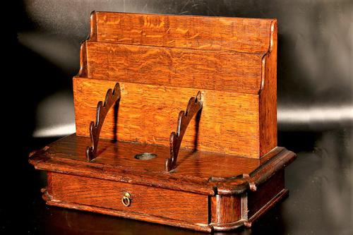Late 19th Century Oak Slope Fronted Correspondence Box (1 of 5)