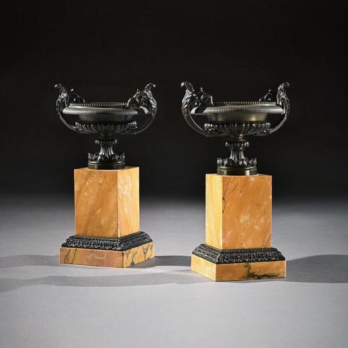 Pair Of Early 19th C Grand Tour Bronze And Sienna Marble Tazzas (1 of 7)