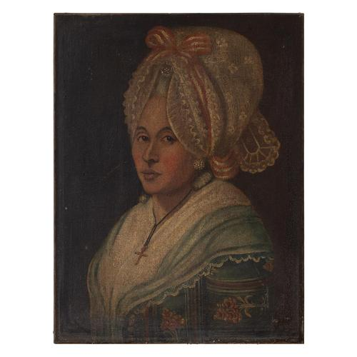 18th-Century French School Portrait of Lady with Bonnet, Oil Painting (1 of 9)