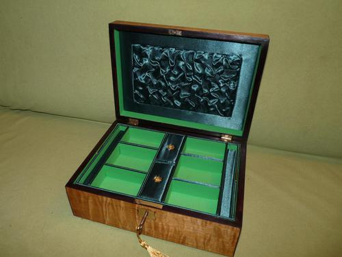 Satinwood & Mahogany Jewellery Box. Plush Interior. c1860. (1 of 11)