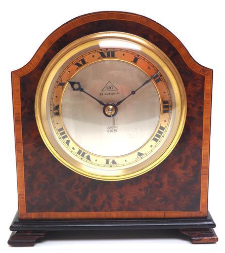 Impressive Amboyna Burr Walnut Edwardian Timepiece Mantel Clock by Dent London (1 of 10)