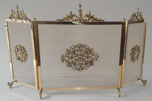 19th Century Polished Brass Three Panel Fire Screen (1 of 4)