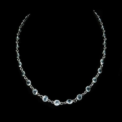 Art Deco Old Cut Paste Silver Full Riviere Necklace (1 of 8)