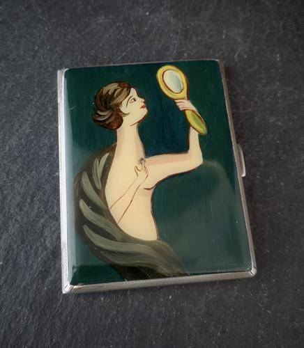 Vintage Art Deco Silver and enamel cigarette case (1 of 13)