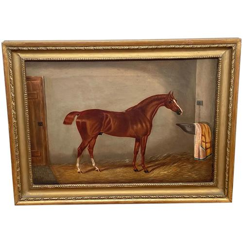 Victorian Oil Painting Chestnut Horse Portrait In Stable Signed Edwin Loder (1 of 42)