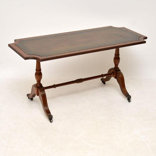 Antique Regency Style Mahogany Leather Topped Coffee Table (1 of 8)