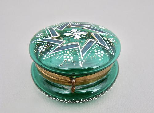 19th Century French Enamelled Glass Trinket Box c.1890 (1 of 7)