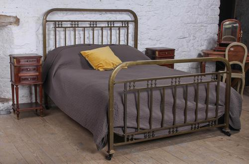 Fashionable simple French naturally aged brass kingsize bed (1 of 6)