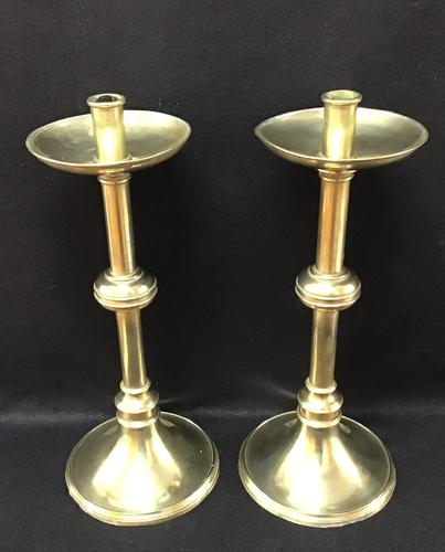 Pair of  19th Century Large Church / Altar Brass Candlesticks (1 of 1)