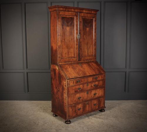 Queen Anne Walnut Bureau Bookcase (1 of 12)