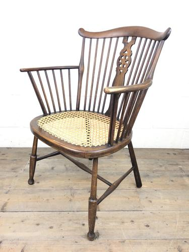 Edwardian Windsor Stick Back Armchair with Cane Seat (1 of 14)