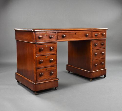 19th Century English Victorian Mahogany Pedestal Desk (1 of 10)