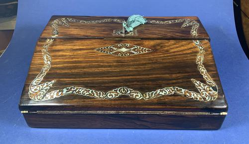 William IV Rosewood Lap Desk, Inlaid with Mother of Pearl (1 of 14)