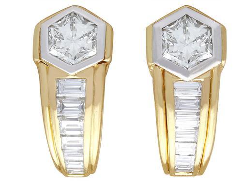 2.17ct Diamond & 18ct Yellow Gold Earrings - Vintage c.1950 (1 of 9)
