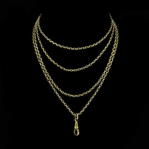Antique Victorian Long Rolled Gold Guard Muff Chain Necklace (1 of 9)