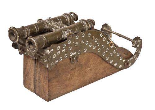 Twin Barrelled Bronze Miniature Cannon (1 of 5)