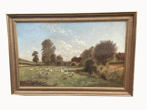 Arrival of the Geese - Oil on Canvas Signed & Dated Edwad Rawstorne 1858 (1 of 7)