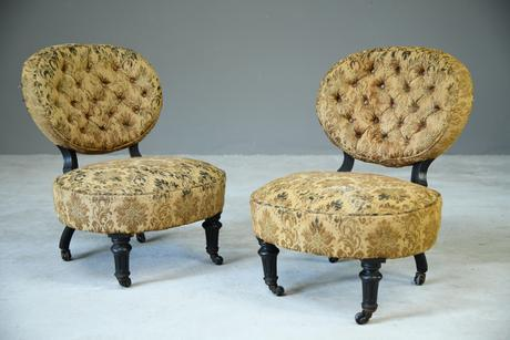 Pair of Victorian Ebonised Salon Chairs (1 of 7)
