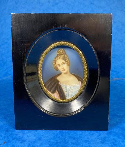 1920s Signed Ebonised Painted Miniature Frame (1 of 10)