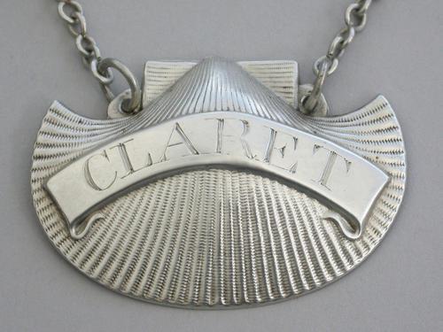 George III Irish Silver Scallop Shell Wine Label 'Claret' by John Teare, Dublin c.1815 (1 of 8)