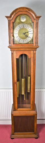 Light Honey Coloured Oak Glass Fronted Grandfather or Grandmother with British  8 Day Triple Weight Quarter Chiming Westminster Musical Longcase (1 of 9)
