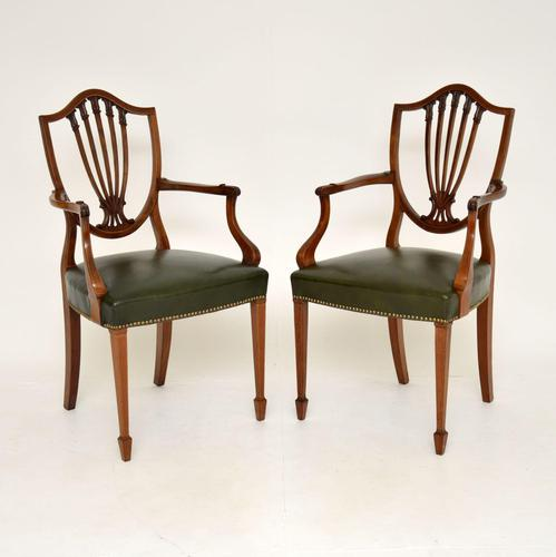 Pair of Antique Mahogany Shield Back Carver Armchairs (1 of 9)