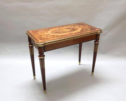 French Louis XVI Style Marquetry Card Occasional Table (1 of 13)