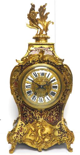 Rare Large Antique French Boulle Mantel Clock Ormolu Inlay 8 Day Mantle Clock (1 of 16)