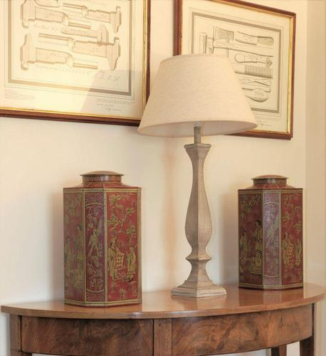 Matching Pair of Octagonal Toleware Canisters (1 of 6)