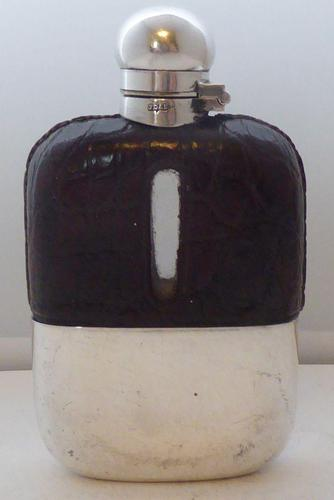 Small 1930 Silver Plate Plated Crocodile Skin Bound Glass Hip Flask James Dixon (1 of 8)