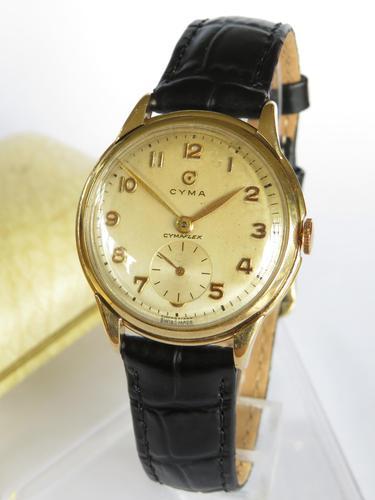 Gents 9ct Gold Cyma Wrist Watch, 1954 (1 of 6)