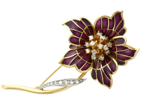 0.47ct Diamond & Plique a Jour Enamel, 18ct Yellow Gold Brooch - Vintage 1954 (1 of 9)
