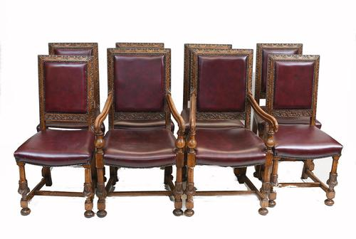 Set of Oak Dining Chairs English Antique Farmhouse Furniture (1 of 13)