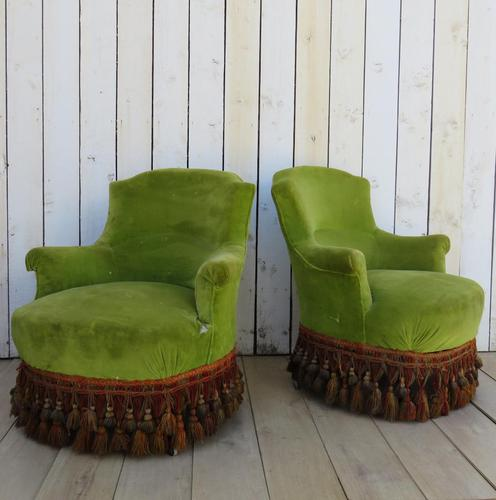 Pair of French Antique Napoleon III Tub Armchairs (1 of 10)