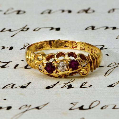 The Edwardian 1902 Scroll Gallery Ruby & Diamond Ring (1 of 4)