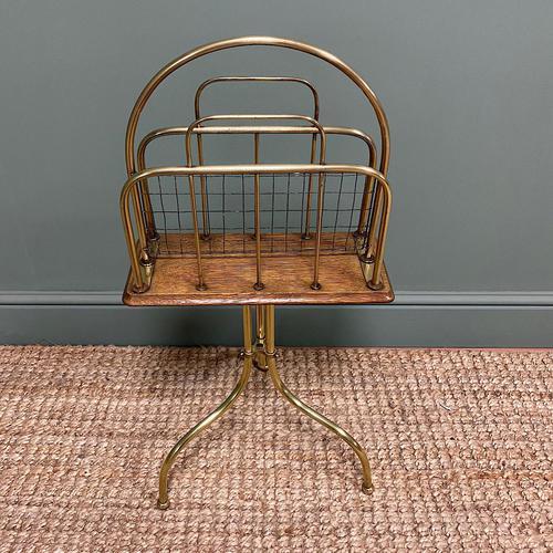 Antique Edwardian Brass & Oak Revolving Book Stand (1 of 5)