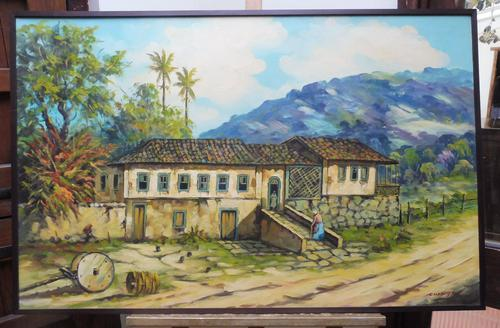 Large oil on canvas tropical sunshine view Brazilian artist Chediac (1 of 10)