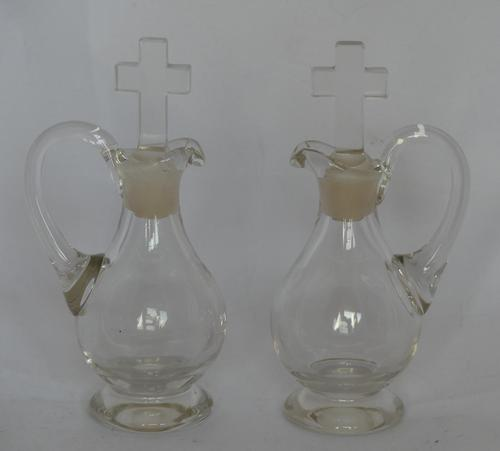 Pair of Glass 'holy water' or Communion Wine Church Jugs with Cross Stoppers (1 of 7)