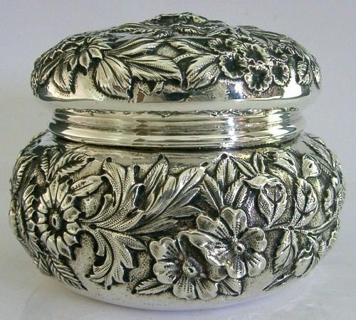 Superb Large American Sterling Silver Pot Box Tea Caddy S Kirk c.1900 (1 of 10)