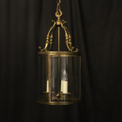 French Gilded Brass Triple Light Antique Lantern (1 of 10)