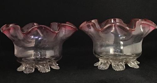 Pair of  Victorian Cranberry Edged Fluted  Glass Bowls. (1 of 4)