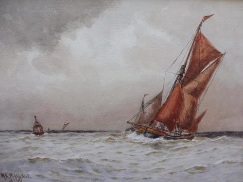 Watercolour Seascape Off Maplin Sands Listed Artist William Henry Pearson (1 of 10)
