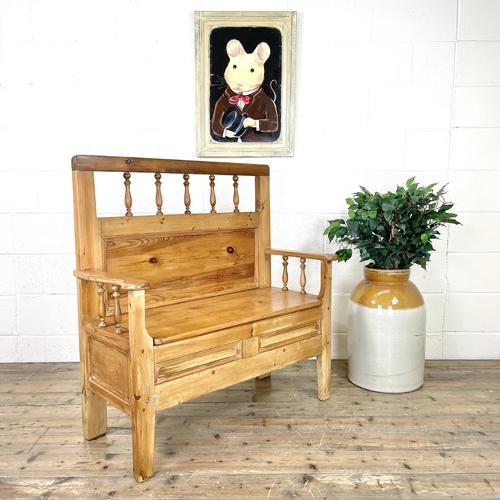 Vintage Pine Settle Bench with Storagev (1 of 10)