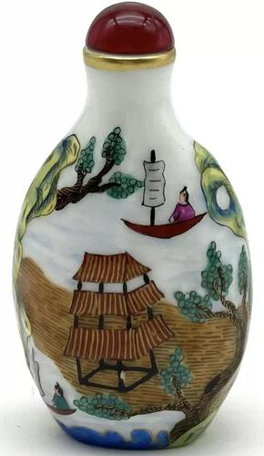 Vintage 20th Century Porcelain Hand Painted Chinese Snuff Bottle (1 of 5)