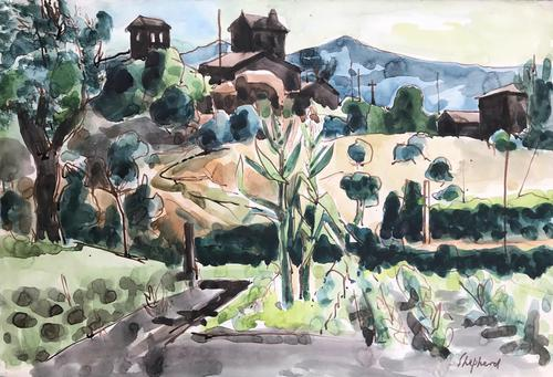 Original Watercolour 'umbrian Landscape' by Toby Horne Shepherd 1909-1993 c.1965 - Signed Bottom Right (1 of 1)