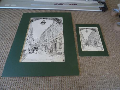 Hanslip Fletcher Original Pen & Ink Drawing & another Lithograph- London Scene 1928 (1 of 9)