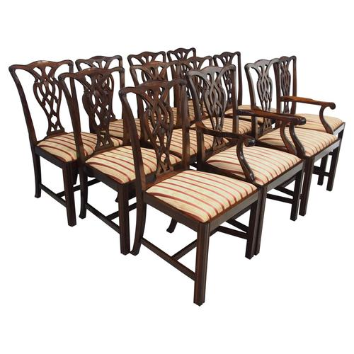 Set of 12 Georgian Style Mahogany Dining Chairs (1 of 12)