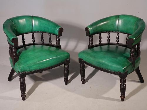 Fine Pair of Victorian Horseshoe Backed Library or Desk Chairs (1 of 4)