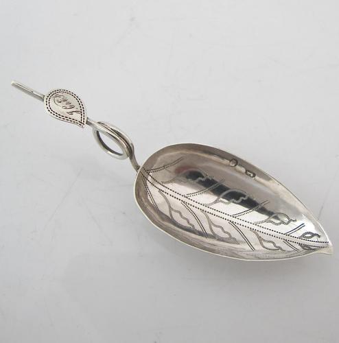 Superb George III Silver Leaf Caddy Spoon Birmingham c.1800 (1 of 4)